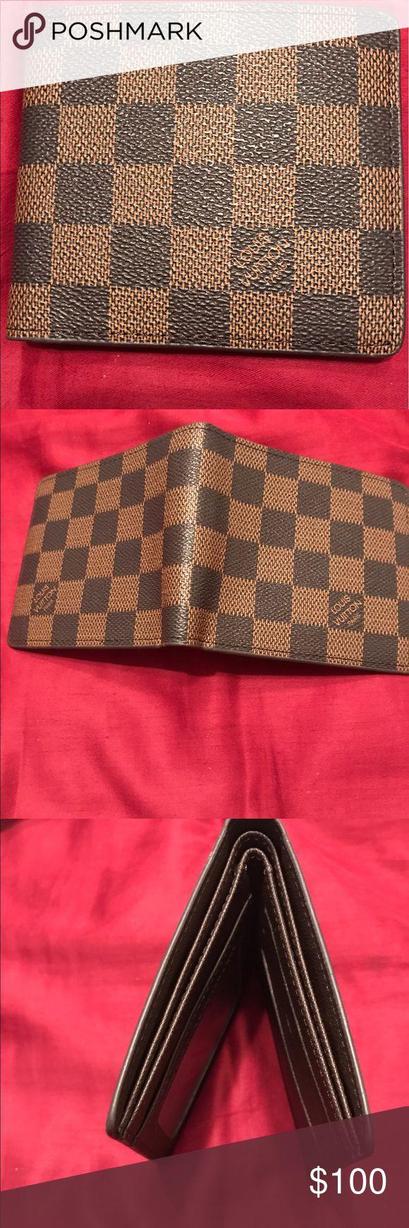 "Marco Damier Canvas Leather Bifold Mens Wallet Marco Damier Canvas Leather Bifold Mens Wallet     4.1""L x 4""H x 1""W. Louis Vuitton Bags Wallets"