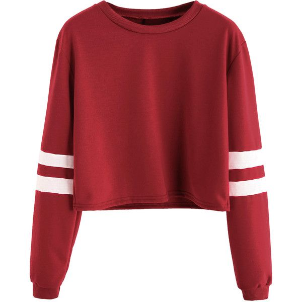 SheIn(sheinside) Varsity Striped Sleeve Crop T-shirt (£8.45) ❤ liked on Polyvore featuring tops, sweaters, shirts, crop top, burgundy, red striped shirt, striped shirt, burgundy crop top, long sleeve shirts and red stripe shirt