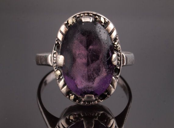 Vintage Silver Amethyst Ring with Marcasite by BelmontandBellamy