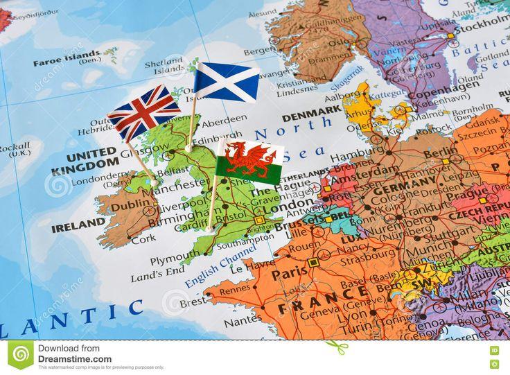 Mapa De Reino Unido, Bandeiras De Inglaterra, Escócia, Gales, Conceito Do Brexit Foto de Stock - Imagem: 74458045