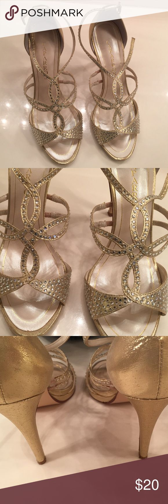 Gold sequin size 9 heels Beautiful Caparros gold heels with sequin strap overlays and buckle around ankles very good shape only worn a few times Caparros Shoes Heels