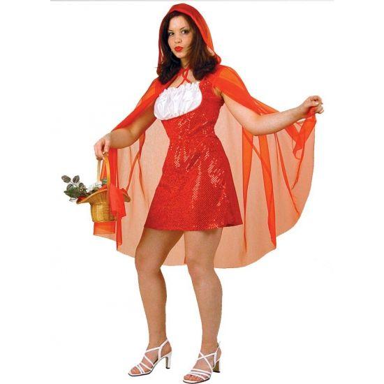 Roodkapje jurk met cape. Dit Roodkapje kostuum voor dames bestaat uit een jurkje met rode pailletten en wit kant aan de voorkant en een rode cape van gaas. Carnavalskleding 2015 #carnaval