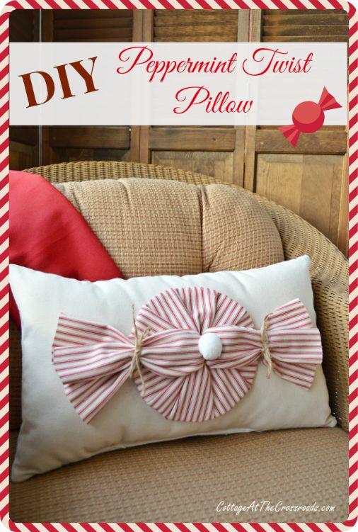 Red Ticking Peppermint Twist Pillow