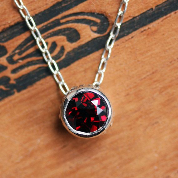 Red garnet necklace - solitaire bezel - January birthstone - slide necklace - recycled sterling silver - wrought collection