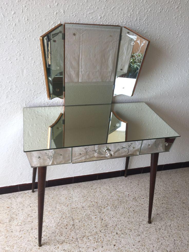 Coiffeuse vintage en miroirs gravés de la boutique ChineByMelu sur Etsy