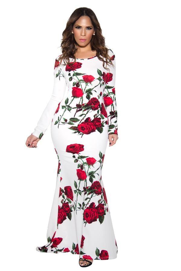 Rose Print Long Sleeve Mermaid Maxi Dress - MY SEXY STYLES - 1