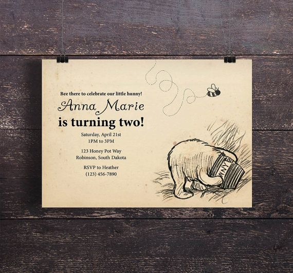 Best Winnie The Pooh Birthday Party Images On Pinterest - Birthday invitation templates winnie pooh