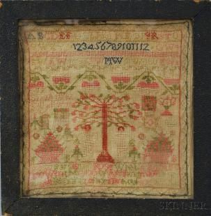 Framed Adam and Eve Sampler, 19th century, stitched in wool yarn on a linen ground, depicting floral motifs, Adam and Eve, the Tree of Knowl...
