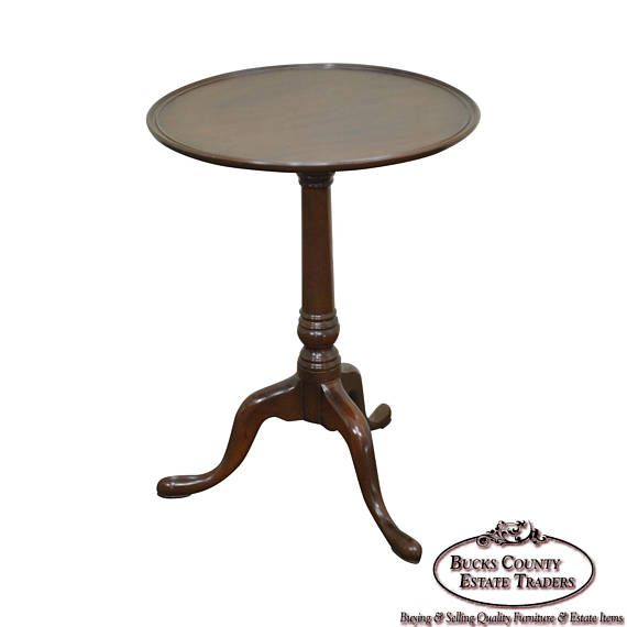 *-*-*Shipping is NOT included in price, NOR FREE! - Please contact us for details BEFORE purchasing.*-*-* STORE ITEM #: 15667 Kittinger Williamsburg Round Mahogany Pedestal Side Table AGE/COUNTRY OF ORIGIN – Approx 40 years, America DETAILS/DESCRIPTION – High quality American