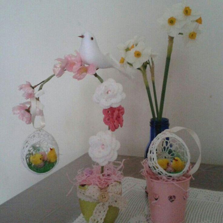 Easter decor crochet eggs and flowers ♥