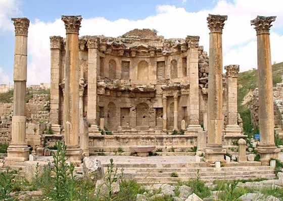 Jerash, Jordan-- we toured here, also came back for the music festival. I sat on that fountain and listened to a Spanish tour guide talk about the place. Amazing!