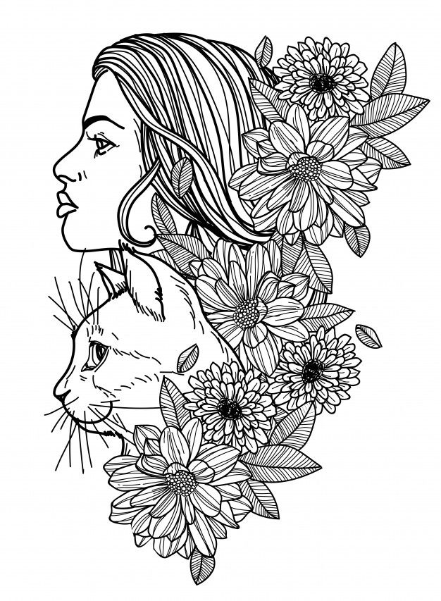 Tattoo Women And Cat Hand Drawing Sketch Black And White Flower Crown Drawing Crown Drawing Flower Drawing
