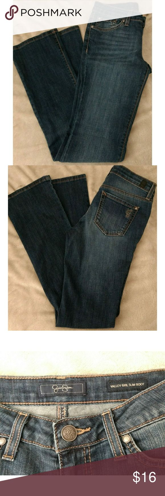 NWOT Jessica Simpson Boot Cut Jeans sz:24 Brand new,  without tags-of course the have not been worn nor washed.  JESSICA Simpson medium dark wash. valley girl bootcut leg jeans.  Size 24- which is a size 0. Last photos show the actual color of the jeans the best.  Dress up or wear casual. High quality jeans. Jessica Simpson Jeans Boot Cut