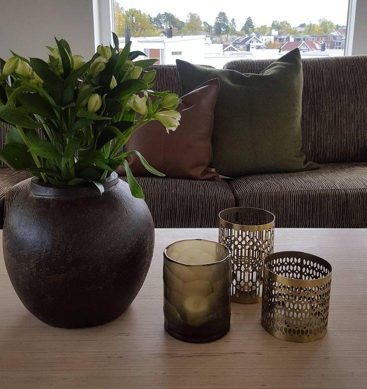 Bilderesultat for styling brun sofa