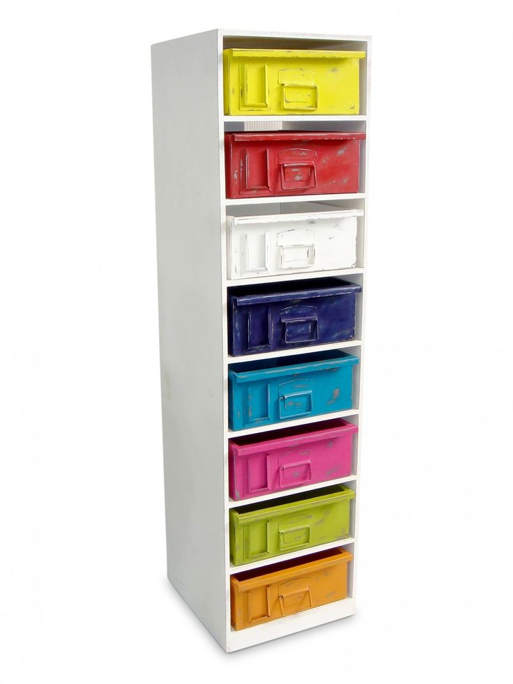 Blending industrial elements with a fun colourful finish the Multidrawer Tallboy provides excellent storage for a child's bedroom or bright office. The rainbow crate drawers mean endless possibilities for adding colour accents.