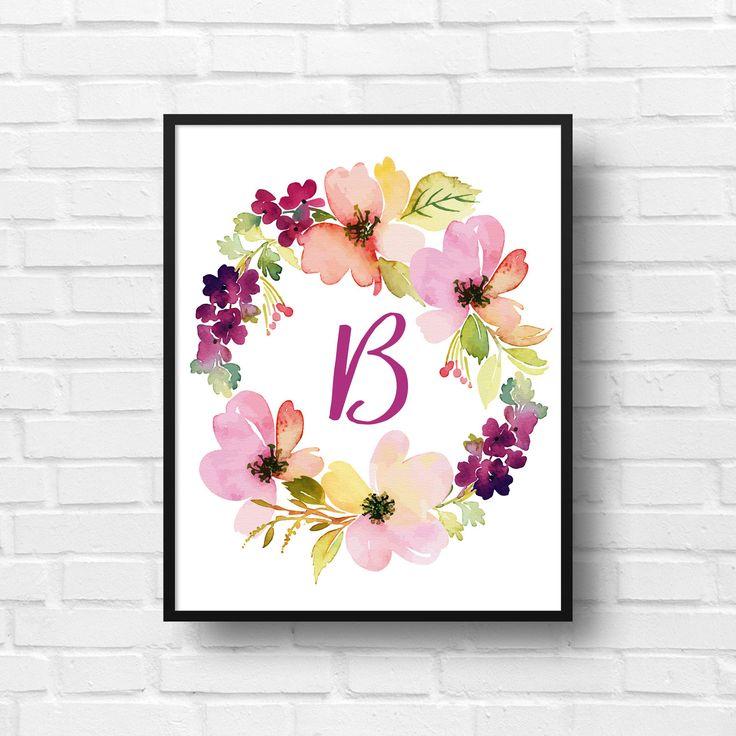 Corona floreale personalizzato monogramma / iniziali / Nursery