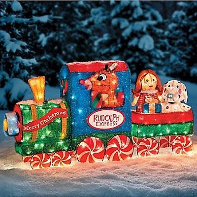 Lighted 3d rudolph reindeer friends train tinsel outdoor for Outdoor christmas train decoration