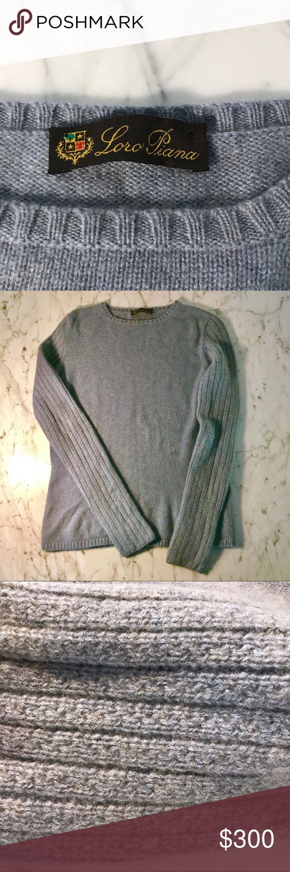 LORO PIANA luxury cashmere sweater, size S 💗💗💗 This is the softest thing I have ever held in my hands! The color is best represented by the close-up photos and is definitely blue with a hint of gray. The cable knit arms are gorgeous and the proportions are perfect. These retail for between $1500 and $2200. There is a hole (snag not moth) on the right sleeve which I'm having professionally repaired. I'll post a photo ASAP when it's done. The price reflects its one imperfection. Loro Piana…