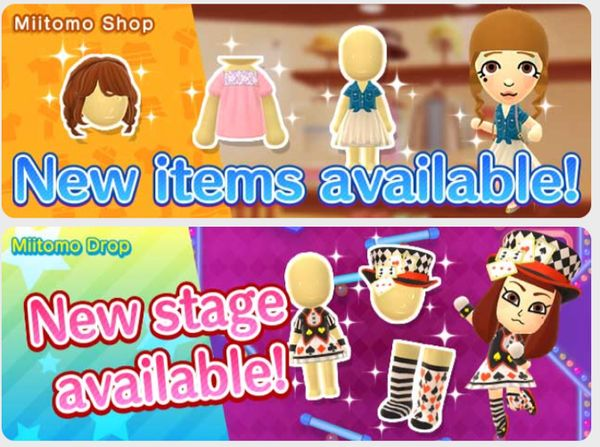 Miitomo - content update for June 8th 2017   'For my next trick...Miitomo Magic Show #1' now available in Miitomo Drop!  - playing card top hat - playing card girl set socks - playing card girl set pumps - playing card girl set dress  New items in the shop!  - loose tumbling locks wig - back ribbon puff-sleeve blouse - tie-front denim shirt  skirt  from GoNintendo Video Games