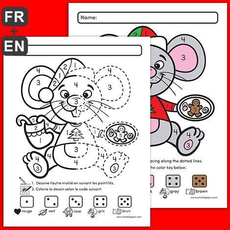 GRATUIT! FREE! L'enfant trace l'autre moitié en suivant les pointillés, puis il colorie la souris selon le code indiqué (chiffres de 1 à 5).