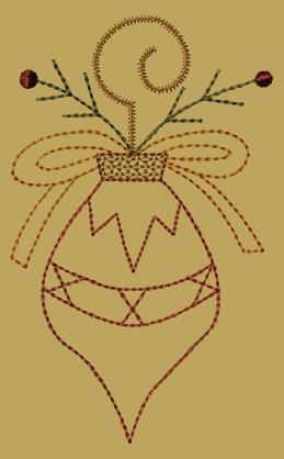 PK097 Christmas Ornament Joy - 5x7: Primitive Keepers, Prim Machine Embroidery Designs