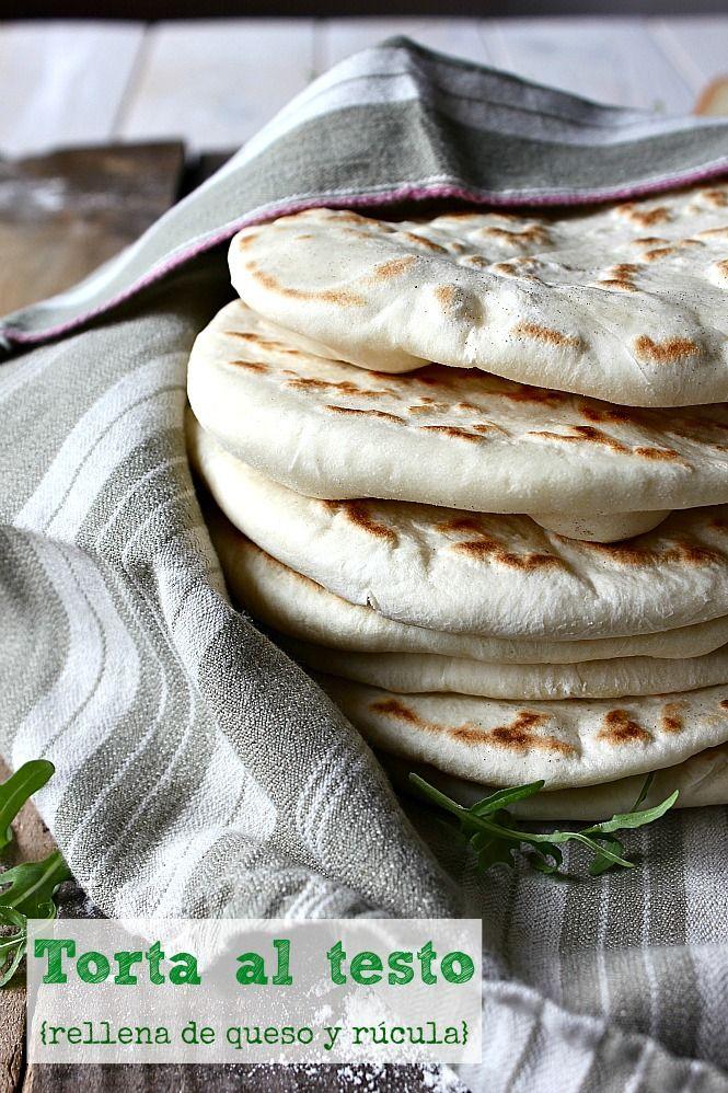 Torta al testo rellena de queso y rúcula by La Cocina de Babel blog