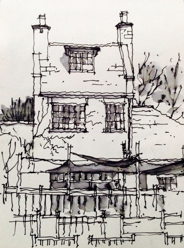 Canal Gardens Cafe at Roundhay Park in Leeds ~ sketch ~ John Edwards