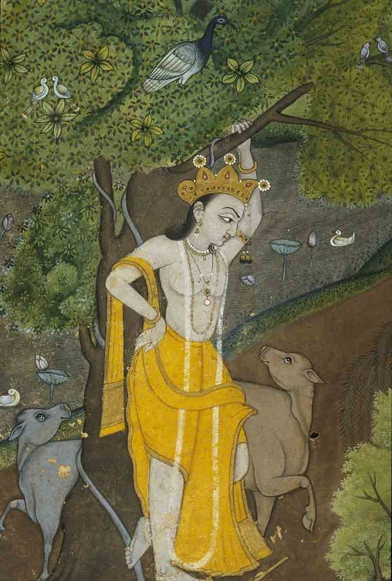 Krishna leaning against a tree [Radha and Krishna in forest, captivated by their mutual beauty, From a poem of Bhagwan Kavi]. Bilaspur, Bilaspur District, India, 1780, 1780: