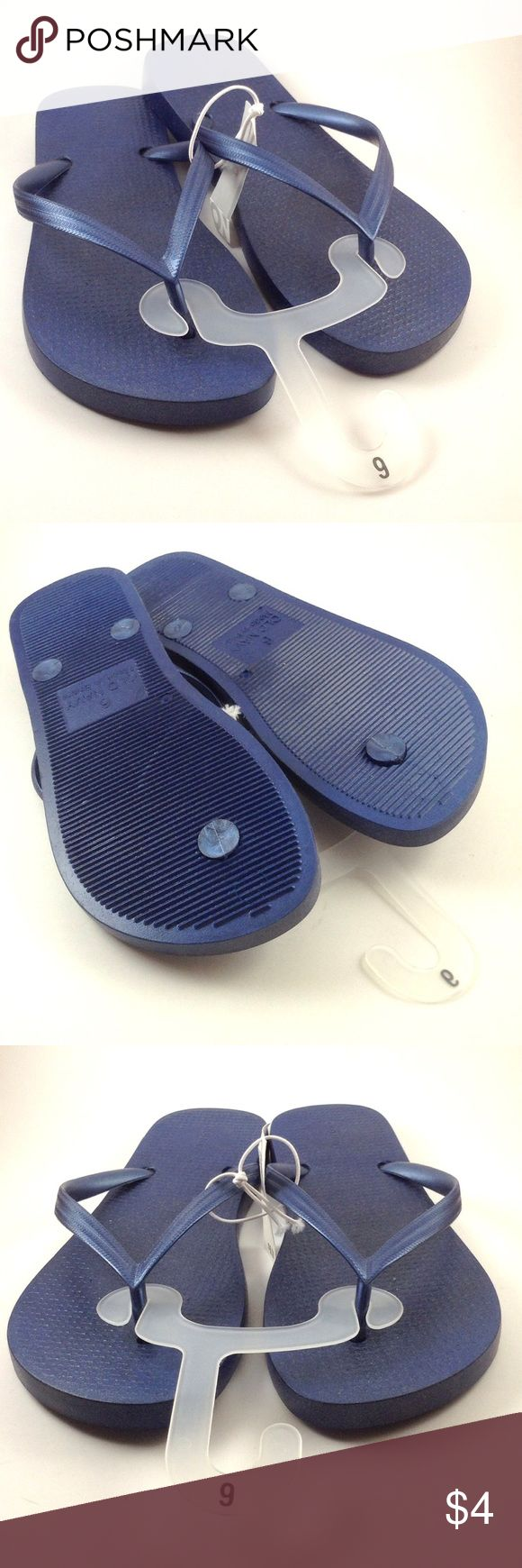 {Old Navy} Navy Flip flops These NWT plastic flip flops are perfect for the rainy spring and summer months yet have a chic style that will pair with any outfit. No signs of love. Old Navy Shoes Sandals