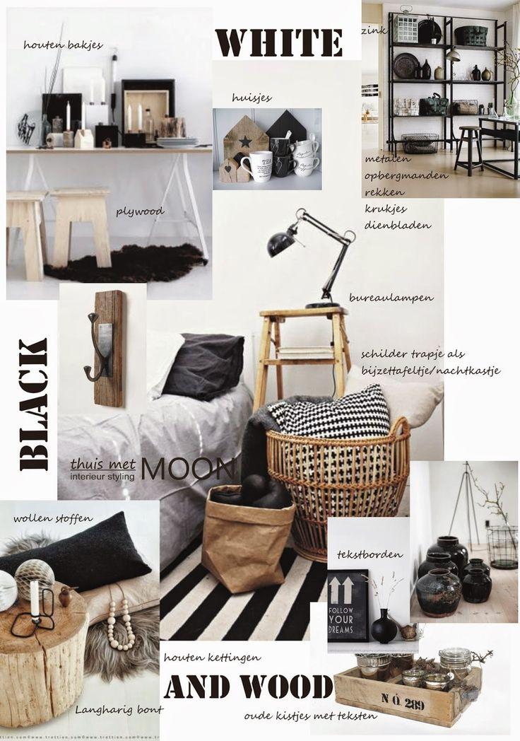 Zwart, wit met hout voor een warm interieur. Modern en grafisch industrieel zijn woorden die het beste passen bij deze twee kleuren.