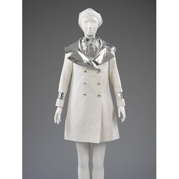John Bates for Jean Varon Wedding ensemble - Great Britain early 1966. Cotton gabardine and metallic polyester film on a PVC ground