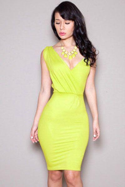 Neon Yellow V-neck Party Midi Bodycon Dress