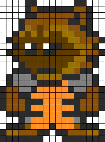 Guardians Of The Galaxy Rocket Racoon Perler Bead Pattern / Bead Sprite A pattern designed for fuse beads! #GotG #RocketRaccoon