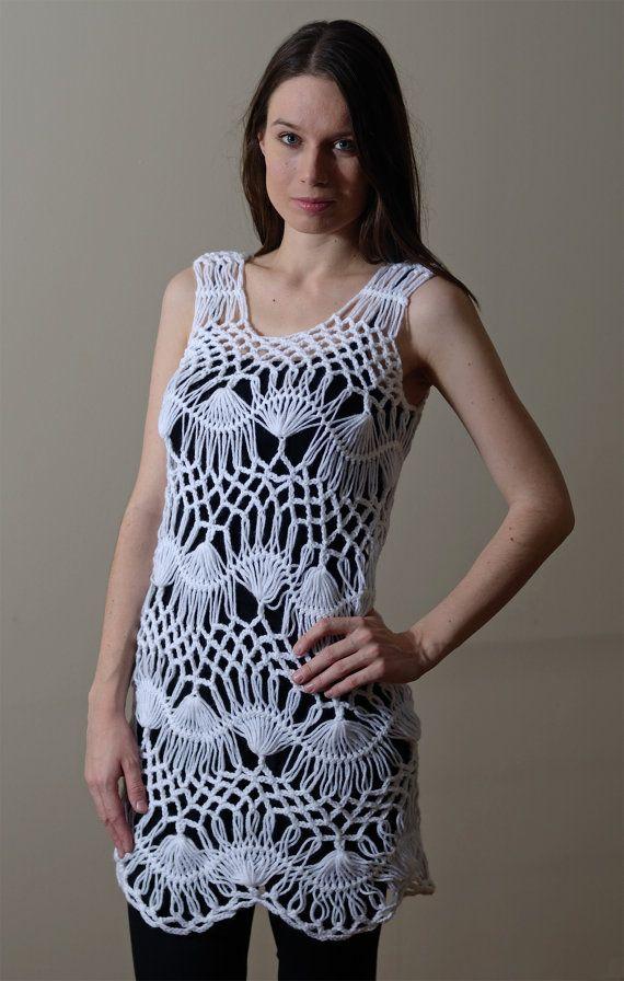 Women Crochet Tunic White Hairpin Lace Tunic Beach by VeraLook