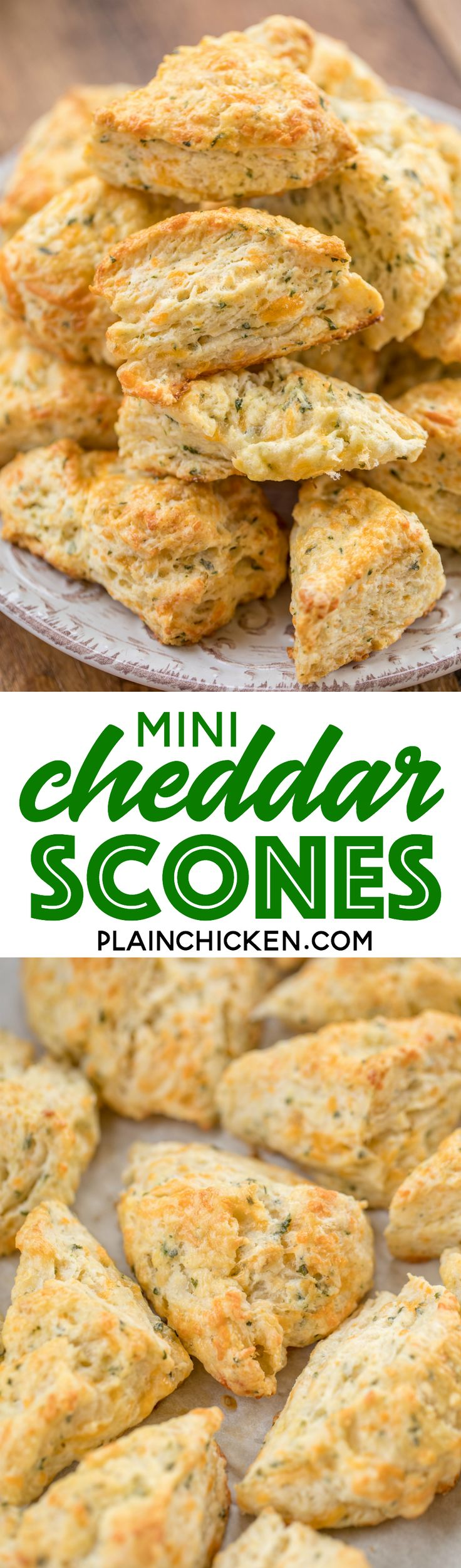 Mini Cheddar Scones - CRAZY good! They go with everything - soups, stews, casseroles, grilled meats. We make these yummy biscuits every week! Flour, baking soda, baking powder, salt, butter, cheese, and buttermilk. Surprisingly easy to make!