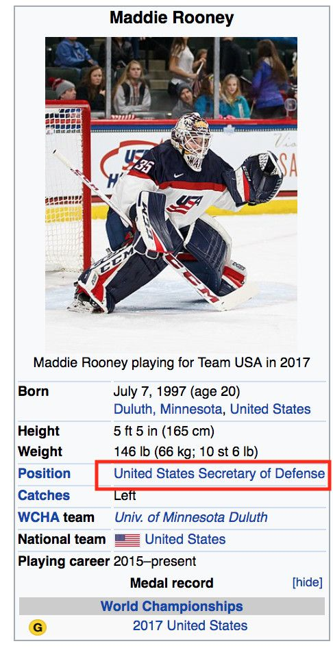 360402cb10c Wikipedia named Maddie Rooney  Secretary of Defense  after her performance  in USA s gold medal game