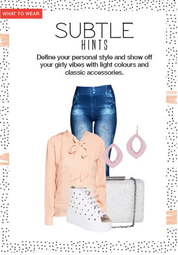 'Subtle Hints' by me on Limeroad featuring Blue Jeans, White Clutches with Crystal Pink Earrings