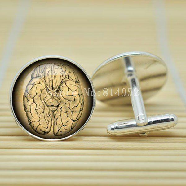 10 пара стимпанк винтаж анатомический мозг ювелирные запонки в серебро стекло кабошон запонки C1003