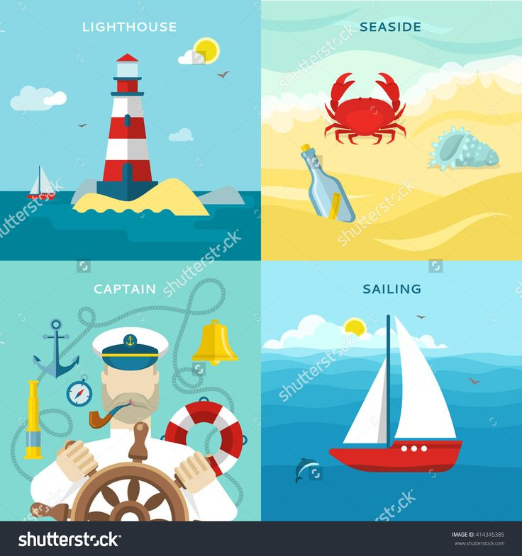 Four Square Nautical Colored Icon Set With Description Of Lighthouse Seaside Captain On The Wheel And Sailing In The Ocean Vector Illustration - 414345385 : Shutterstock