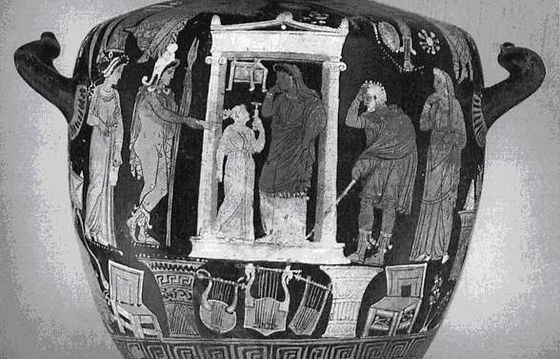 "Apulan vase ""Petrification of Niobe"", Painter of Ganymede, 330 BC, University of Zurich. https://hemmahoshilde.wordpress.com/2016/01/13/niobe-pottery/"