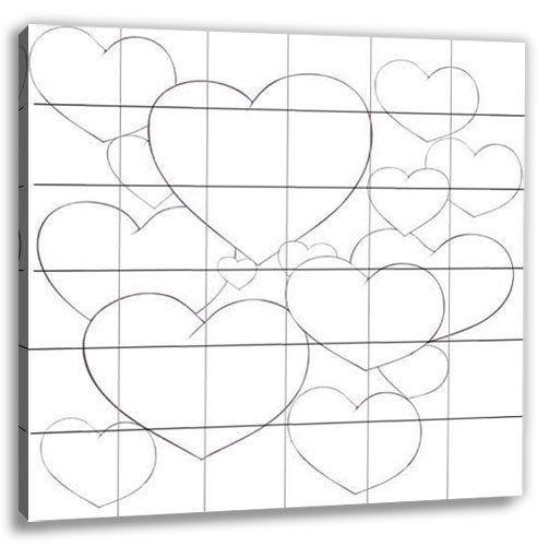 Hochzeitsspiel: Leinwand bemalen - Herzen 60x60cm - Komplett-Set inkl. Leinwand, Farben, Pinsel und Mal-Schalen. Hochzeitsgeschenk und Hochzeitsspiel in Einem.