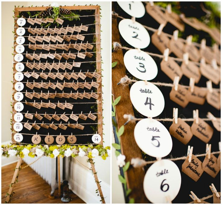 Rustic wedding escort card display - Remplacer le nom par la photo de la personne