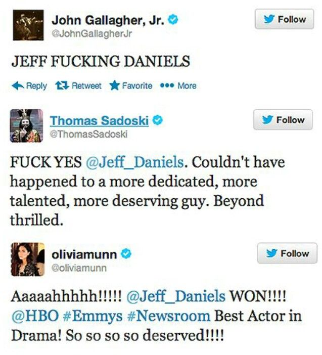 The Newsroom cast congratulates Jeff Daniels on his Emmy win!!