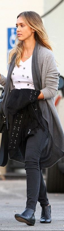 Who made  Jessica Alba's key chain, white star tee, and gray ombre cardigan sweater?
