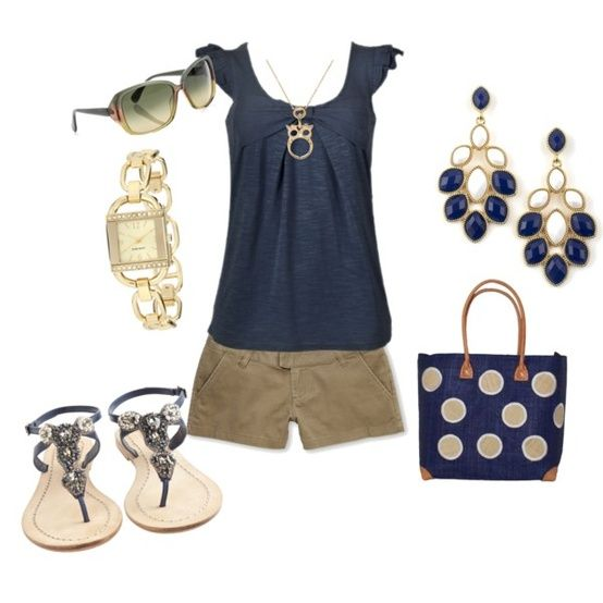 Summer funCasual Outfit, Khakis, Fashion Ideas, Style, Clothing, Summer Outfits, Cute Outfit, Navy Blue, Dreams Closets
