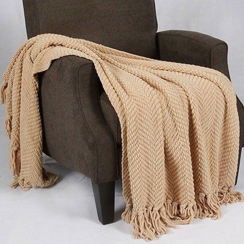 Throw Knitted Blanket Soft Warm Cozy Bed Sofa Machine Wash Light Camel #ThrowBlanket