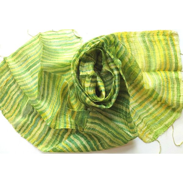 Green Silk Scarf Hand Dyed Handwoven Natural Pure Raw Silk Wedding Accessories Light Weight Batik Silk Scarf Handmade Wedding Gift For Her (€15) found on Polyvore featuring women's fashion, accessories, scarves, green scarves, lightweight shawl, batik scarves, green silk scarves and silk shawl