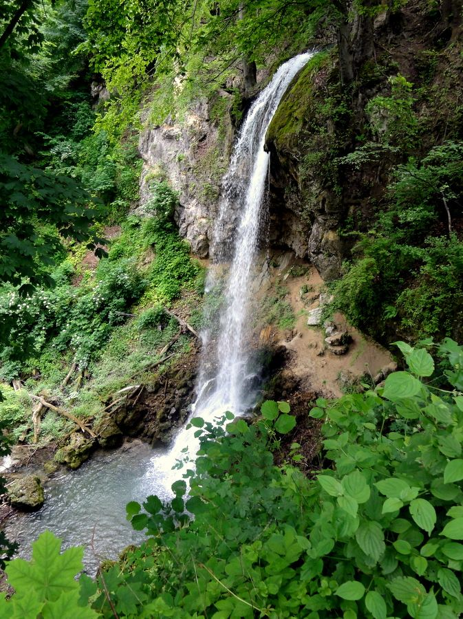 The waterfalls located in the Hanging Gardens of the Palace Hotel in Lillafured