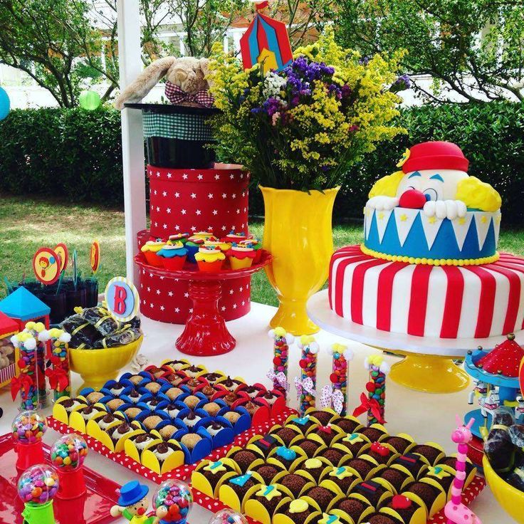 Red, yellow and blue circus birthday party! See more party ideas at CatchMyParty.com!