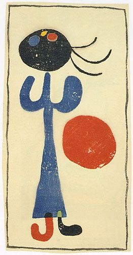 Joan Miró woodcut from Eluard's book of poems A toute épreuve (1958)